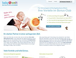 Kostenloses Begr&uuml;&szlig;ungspaket beim Eintritt in den babywelt Bonus-Club von Rossmann