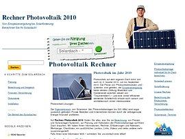 Solaranlagen - Rechner Photovoltaik 2010 berechnet Preise und Solaranlagen-Systeme