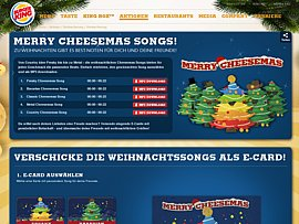 Merry Cheesemas Songs - Weihnachtliche Musik und Ecards kostenlos von Burger King