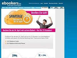 Ebookers Spartage - Rabatt-Gutscheine für Hotelbuchungen und Kombi-Reisen