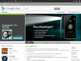 Dank kostenloser App &quot;Tiny Flashlight&quot; Smartphone als Taschenlampe nutzen