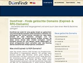 Domfindr.net - Gelöschte & auslaufende Domains mit Backlinks