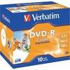 Verbatim DVD-R 4.7GB 16X Inkjet weiss 10er Pack, Jewelcase