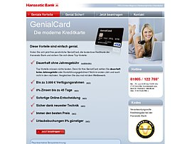 Kostenlose Kreditkarte der Hanseatic Bank - GenialCard mit 30 Euro Starguthaben
