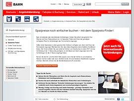 Sparpreis-Finder der Bahn - Nationale Strecken ab 29 Euro, internationale ab 39 Euro