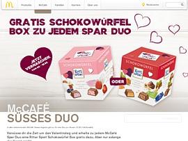 McCafé verteilt gratis Ritter Sport Schokowürfel Box zu jedem McCafé Spar Duo