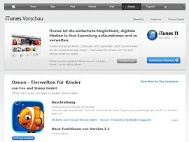"""Kinder-App """"Ozean – Tierwelten für Kinder"""" jetzt kostenlos im App Store laden"""