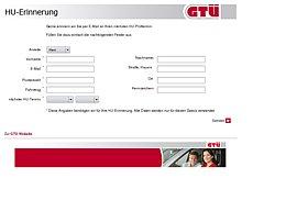 GTÜ-HU Reminder: TÜV Erinnerung per E-Mail